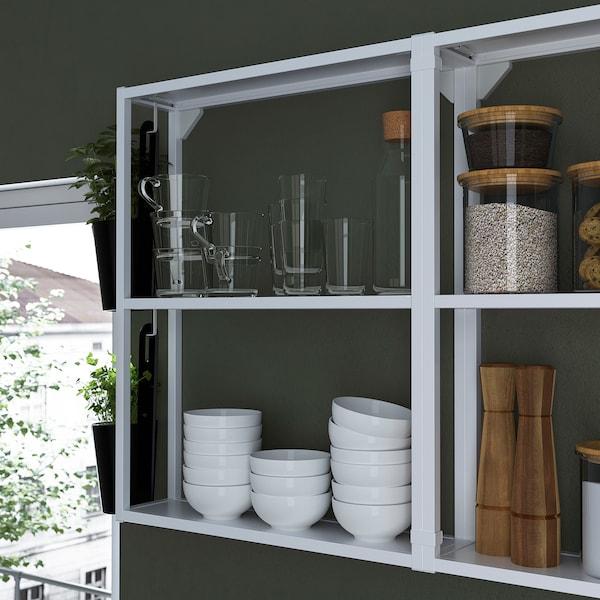 ENHET Kitchen, white/grey frame, 243x63.5x241 cm
