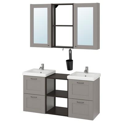 ENHET / TVÄLLEN Bathroom furniture, set of 22, grey frame/anthracite Pilkån tap, 124x43x65 cm