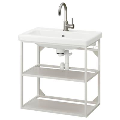 ENHET / TVÄLLEN Open wash-stand with 2 shelves, white/Glypen tap, 64x43x65 cm