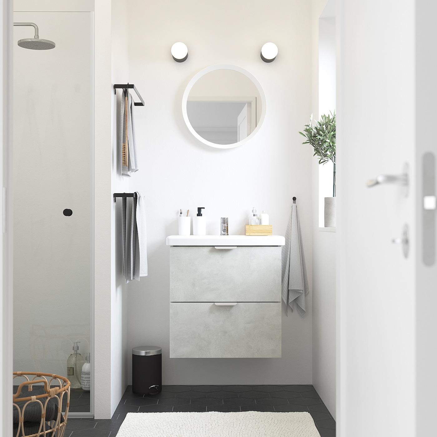 ENHET / TVÄLLEN Wash-stand with 2 drawers, concrete effect/white Pilkån tap, 64x43x65 cm
