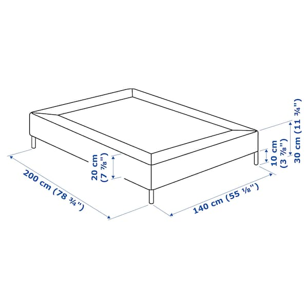 ESPEVÄR sprung mattress base with legs dark grey 200 cm 140 cm 20 cm
