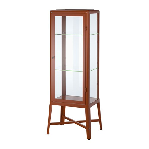FABRIKÖR Glass-door cabinet - redbrown - IKEA
