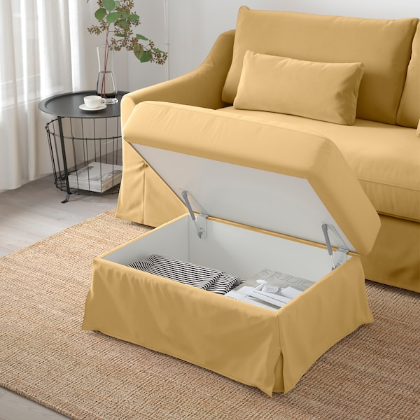 FÄRLÖV footstool with storage Djuparp yellow-beige 64 cm 84 cm 51 cm 4 cm 95 l