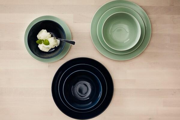 FÄRGRIK Deep plate, dark turquoise, 24 cm