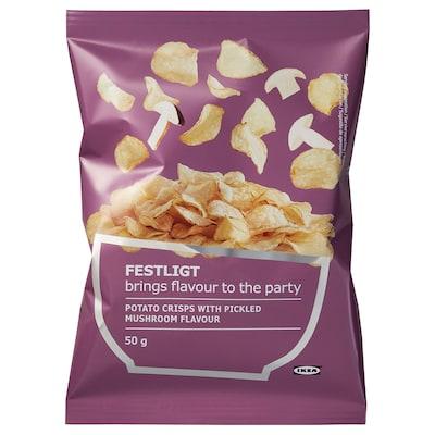 FESTLIGT Potato crisps, pickled mushroom, 50 g