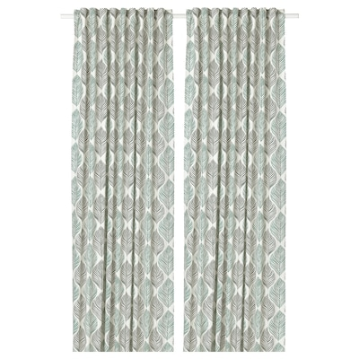 FJÄDERKLINT Curtains, 1 pair, white/green, 145x300 cm