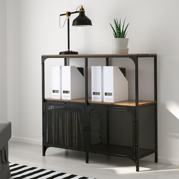FJÄLLBO Shelving unit, black, 100x95 cm