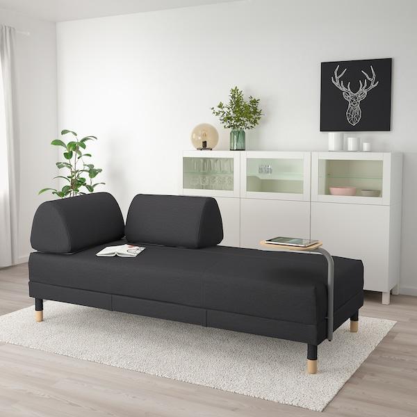FLOTTEBO Sofa-bed with side table, Vissle dark grey, 90 cm