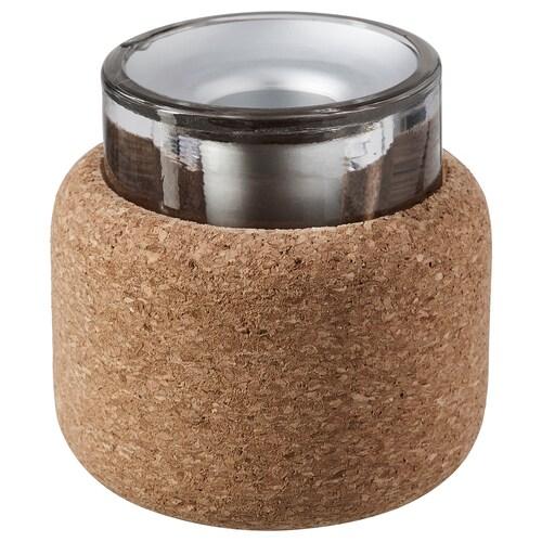 FÖRENLIG candlestick/tealight holder clear glass/cork 7 cm