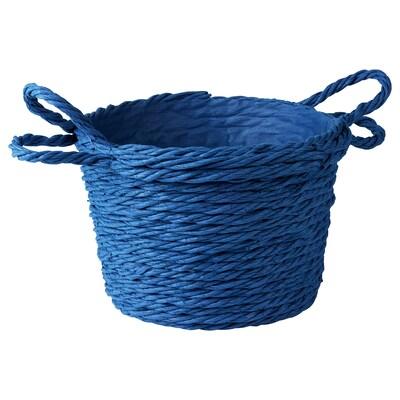 FÖRÄNDRING Basket, handmade/rice straw blue, 37 cm
