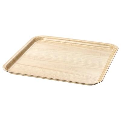 FÖRMEDLA Tray with anti-slip, wood effect, 33x33 cm