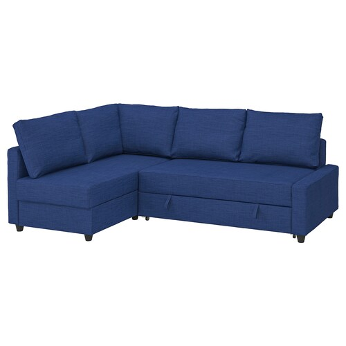 FRIHETEN corner sofa-bed with storage with extra back cushions/Skiftebo blue 230 cm 151 cm 66 cm 78 cm 44 cm 204 cm 140 cm