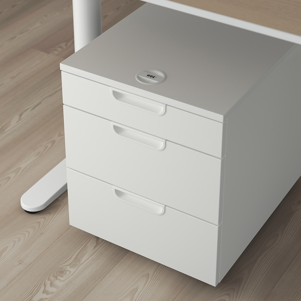 ikea white two three drawer filing cabinet