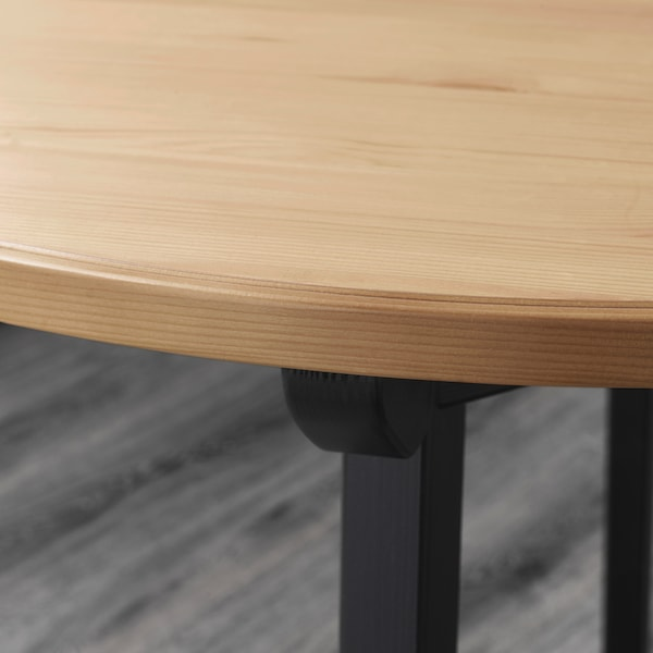 GAMLARED Table, light antique stain/black stained, 85 cm