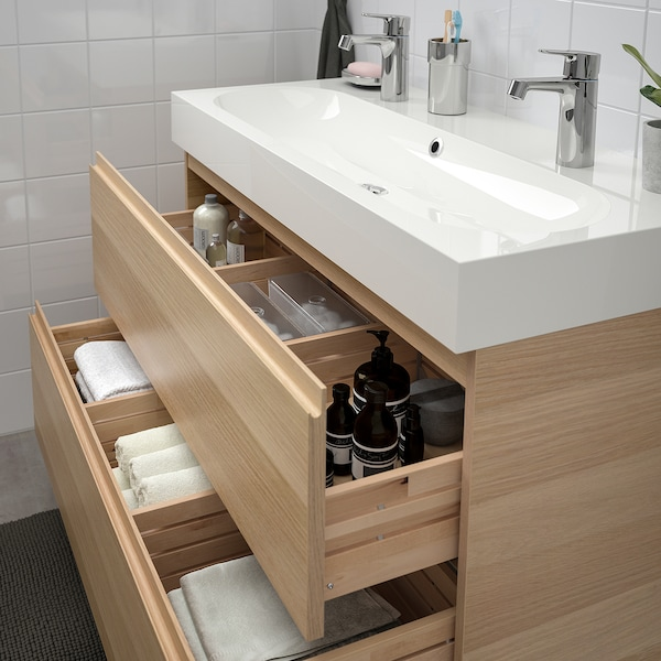 GODMORGON / BRÅVIKEN wash-stand with 2 drawers white stained oak effect/Brogrund tap 100 cm 100 cm 48 cm 68 cm