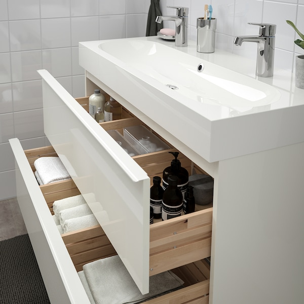 GODMORGON / BRÅVIKEN wash-stand with 2 drawers high-gloss white/Brogrund tap 100 cm 100 cm 48 cm 68 cm