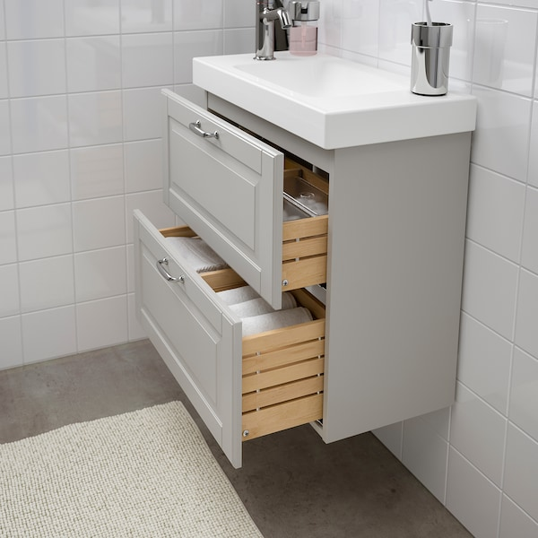 GODMORGON / HAGAVIKEN wash-stand with 2 drawers Kasjön light grey/Voxnan tap 63 cm 60 cm 34 cm 65 cm