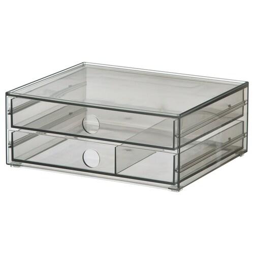 GODMORGON mini chest with 2 drawers smoked 23 cm 19 cm 9 cm