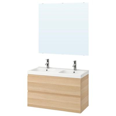 GODMORGON / ODENSVIK Bathroom furniture, set of 5, white stained oak effect/Dalskär tap, 103 cm