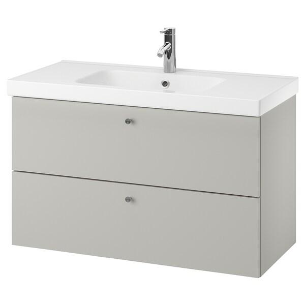 GODMORGON / ODENSVIK Wash-stand with 2 drawers, Gillburen light grey/Dalskär tap, 103x49x64 cm