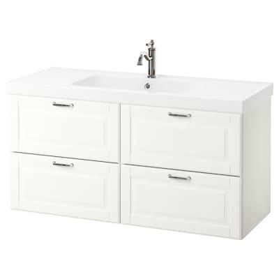 GODMORGON / ODENSVIK Wash-stand with 4 drawers, Kasjön white/Hamnskär tap, 123x49x64 cm
