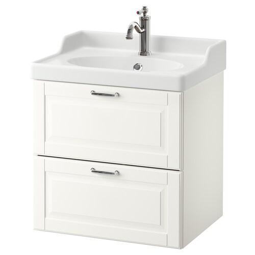 GODMORGON / RÄTTVIKEN wash-stand with 2 drawers Kasjön white/Hamnskär tap 62 cm 49 cm 68 cm