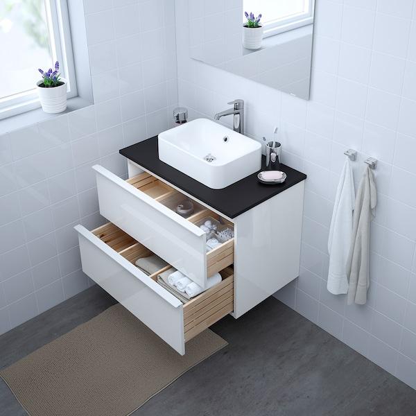 GODMORGON/TOLKEN / HÖRVIK Wsh-stnd w countrtop 45x32 wsh-bsn, high-gloss white/anthracite Brogrund tap, 82x49x72 cm