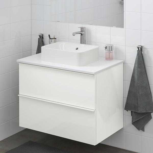 GODMORGON/TOLKEN / HÖRVIK Wsh-stnd w countrtop 45x32 wsh-bsn, high-gloss white/marble Brogrund tap, 82x49x72 cm