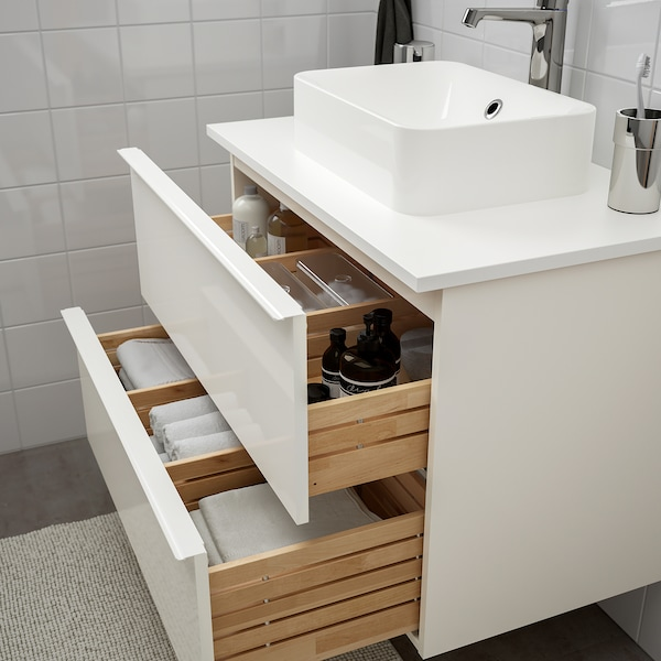 GODMORGON/TOLKEN / HÖRVIK Wsh-stnd w countrtop 45x32 wsh-bsn, high-gloss white/white Brogrund tap, 82x49x72 cm