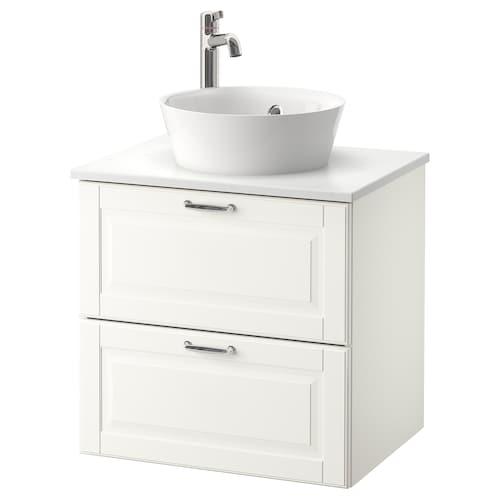 GODMORGON/TOLKEN / KATTEVIK wsh-stnd w countertop 40 wash-basin Kasjön white/marble effect Voxnan tap 62 cm 49 cm 75 cm