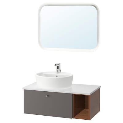 GODMORGON/TOLKEN / TÖRNVIKEN Bathroom furniture, set of 6, Gillburen dark grey/brown stained ash effect/marble effect Brogrund tap, 82x49x45 cm