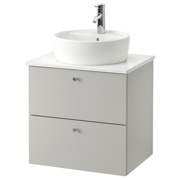 GODMORGON/TOLKEN / TÖRNVIKEN Wsh-stnd w countertop 45 wsh-basin, Gillburen light grey/marble effect Dalskär tap, 62x49x74 cm