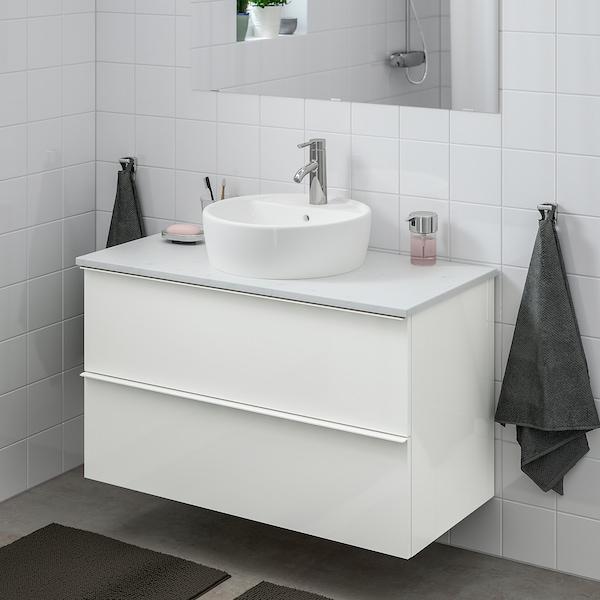 GODMORGON/TOLKEN / TÖRNVIKEN Wsh-stnd w countertop 45 wsh-basin, high-gloss white/marble effect Dalskär tap, 102x49x74 cm