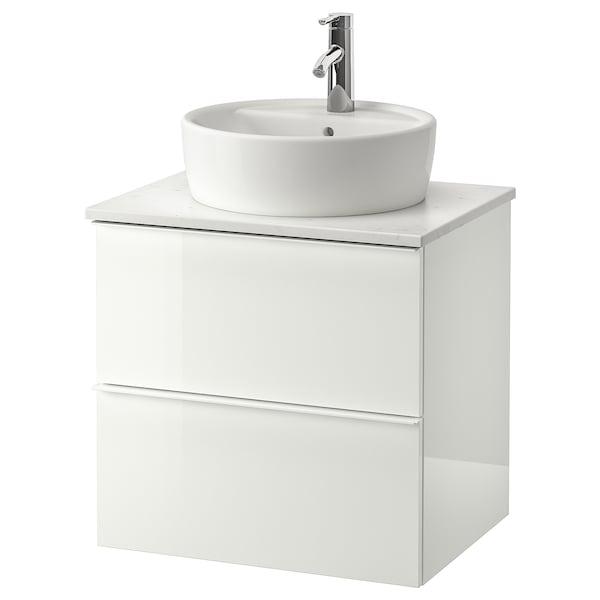 GODMORGON/TOLKEN / TÖRNVIKEN Wsh-stnd w countertop 45 wsh-basin, high-gloss white/marble effect Dalskär tap, 62x49x74 cm