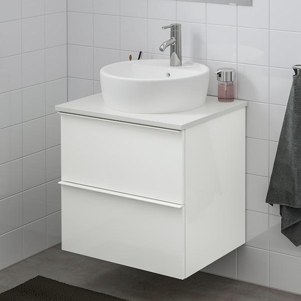 GODMORGON/TOLKEN / TÖRNVIKEN Wsh-stnd w countertop 45 wsh-basin, high-gloss white/white Dalskär tap, 62x49x74 cm