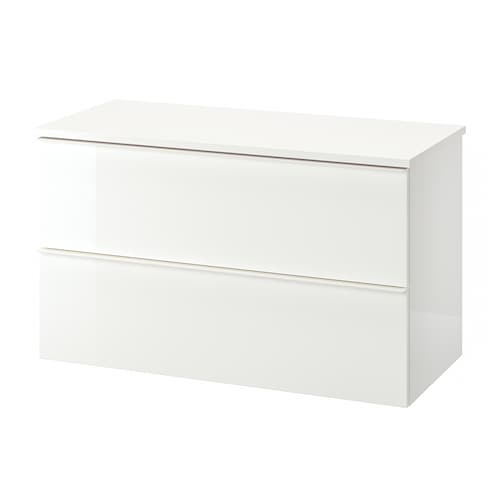 GODMORGON / TOLKEN wash-stand with 2 drawers high-gloss white/white 102 cm 49 cm 60 cm