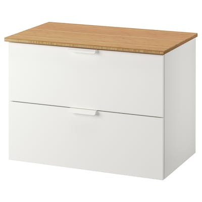 GODMORGON / TOLKEN Wash-stand with 2 drawers, white/bamboo, 82x49x60 cm