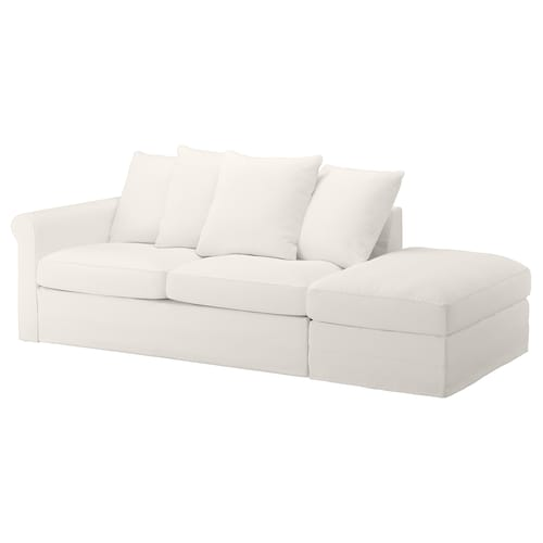 GRÖNLID 3-seat sofa-bed with open end/Inseros white 53 cm 104 cm 68 cm 231 cm 98 cm 60 cm 49 cm 140 cm 200 cm 12 cm