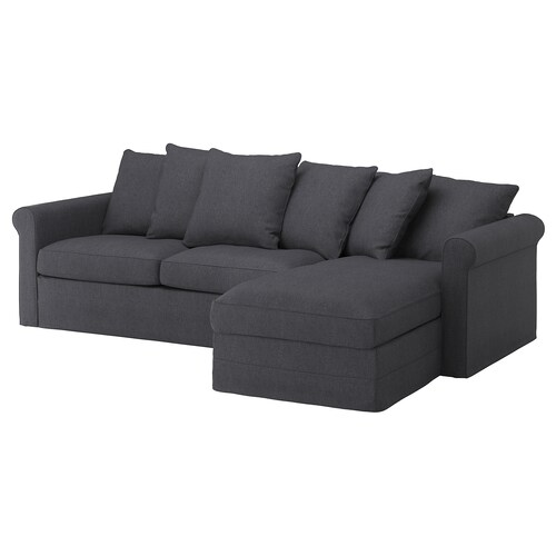 GRÖNLID 3-seat sofa-bed with chaise longue/Sporda dark grey 53 cm 104 cm 68 cm 164 cm 277 cm 98 cm 126 cm 60 cm 49 cm 140 cm 200 cm 12 cm