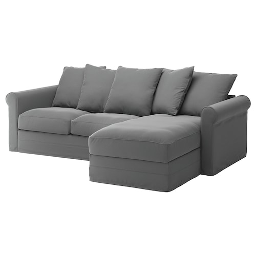 GRÖNLID 3-seat sofa with chaise longue/Ljungen medium grey 104 cm 164 cm 258 cm 98 cm 126 cm 7 cm 18 cm 68 cm 222 cm 60 cm 49 cm