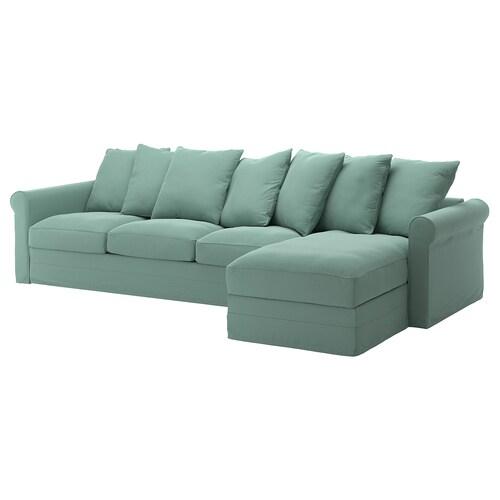GRÖNLID 4-seat sofa with chaise longue/Ljungen light green 104 cm 68 cm 164 cm 328 cm 98 cm 126 cm 7 cm 18 cm 68 cm 292 cm 60 cm 49 cm