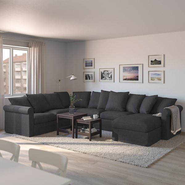GRÖNLID corner sofa-bed, 5-seat with chaise longue/Sporda dark grey 53 cm 104 cm 164 cm 98 cm 126 cm 252 cm 352 cm 60 cm 49 cm 140 cm 200 cm 12 cm