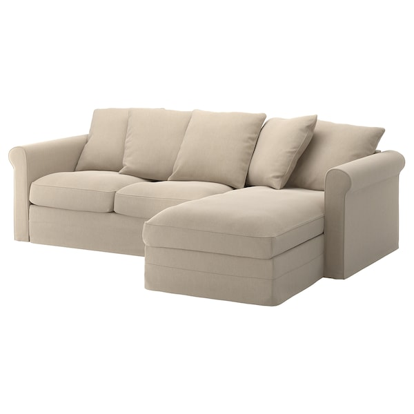 GRÖNLID cover for 3-seat sofa with chaise longue/Sporda natural