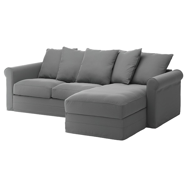GRÖNLID cover for 3-seat sofa with chaise longue/Ljungen medium grey