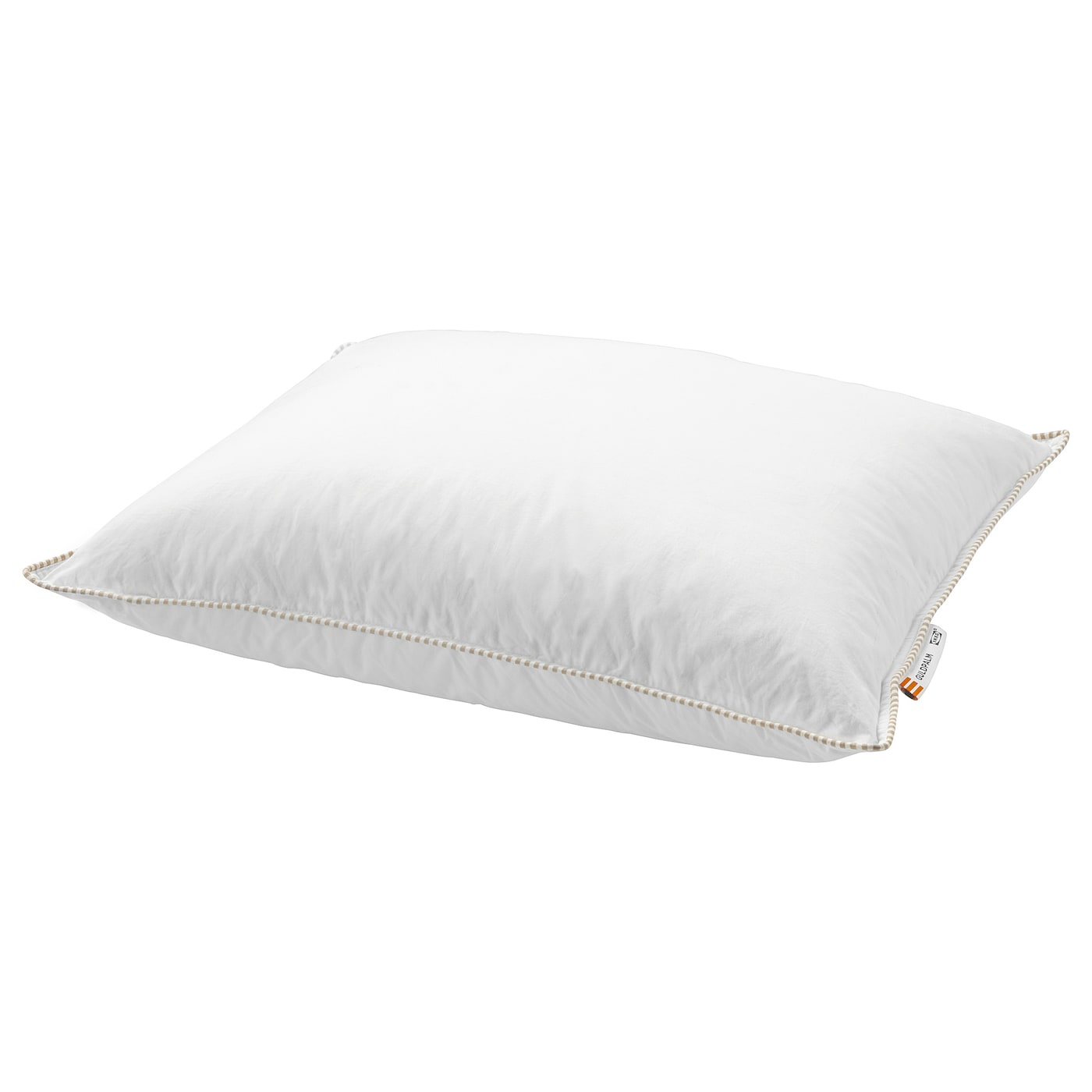 IKEA GULDPALM pillow, firmer A firm pillow in soft cotton, filled with duck down and feathers.