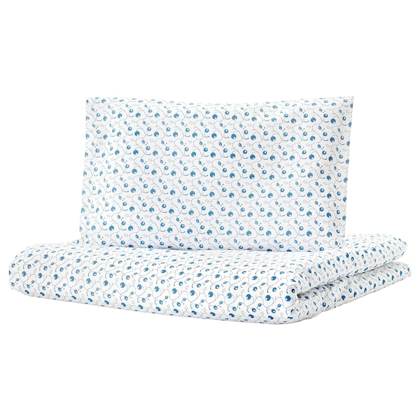 GULSPARV Quilt cover/pillowcase for cot, blueberry patterned, 110x125/35x55 cm
