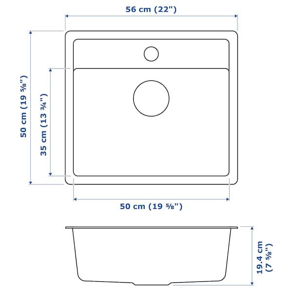 HÄLLVIKEN inset sink, 1 bowl black/quartz composite 18 cm 50 cm 35 cm 48.6 cm 54.6 cm 50 cm 56 cm 50 cm 19.4 cm 31.5 l
