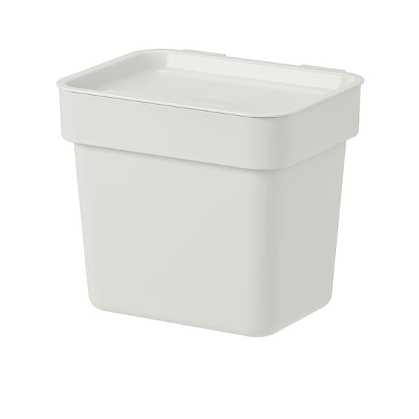 HÅLLBAR Bin with lid, light grey, 3 l