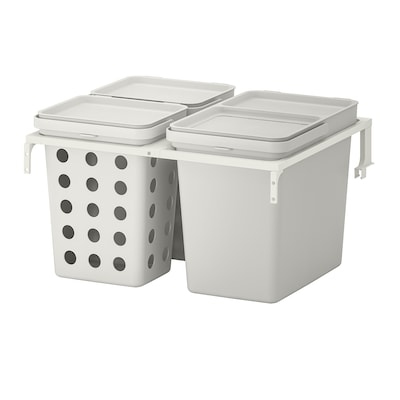 HÅLLBAR Waste sorting solution, for METOD kitchen drawer ventilated/light grey, 42 l