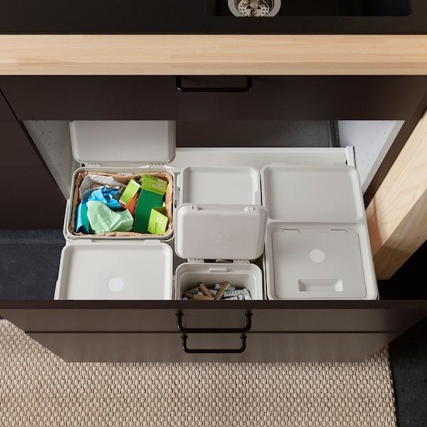 HÅLLBAR Waste sorting solution, for METOD kitchen drawer ventilated/light grey, 55 l